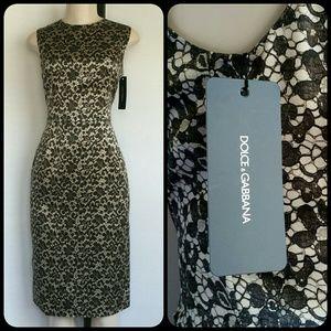 DOLCE & GABBANA BLACK & CREAM LACE PRINT DRESS NWT